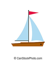 Yacht icon in flat style - icon in flat style on a white...