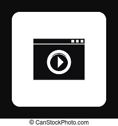 Video movie media player icon, simple style