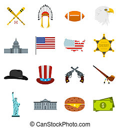 USA icons set, flat style - Flat USA icons set. Universal...