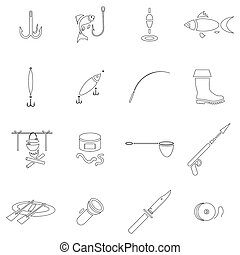 Fishing icon set, outline style - Outline fishing icons set....