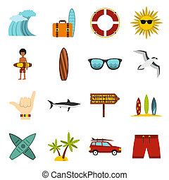Surfing icons set, flat style - Flat surfing icons set....