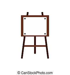 Wooden easel icon, flat style - icon in flat style on a...