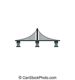 Cable stayed bridge icon, flat style - icon in flat style on...