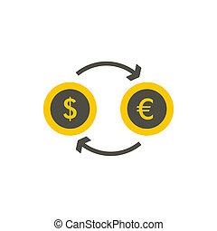 Euro dollar euro exchange icon, flat style - icon in flat...
