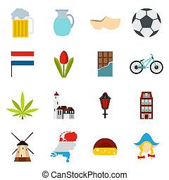 Netherlands icons set, flat style - Flat Netherlands icons...