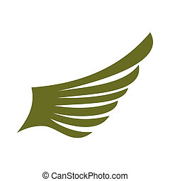 Green wing bird icon, flat style