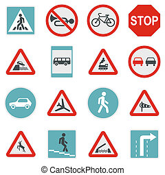Road Sign Set icons, flat style - Flat road sign icons set....