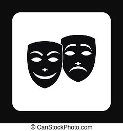 Comedy and tragedy theatrical masks icon - icon in simple...