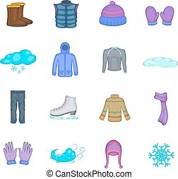 Winter clothes icons set, cartoon style - Winter clothes...