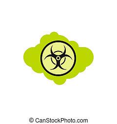 Radioactive cloud icon, flat style - Radioactive cloud icon...