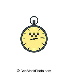 Stopwatch with taxi sign icon, flat style - icon in flat...