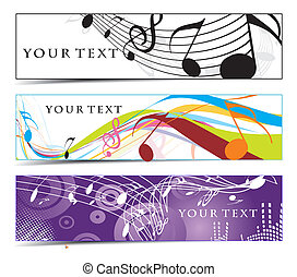 Abstract banners on music note, multi-coloured, vector...