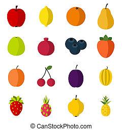 Fruit icons set, flat style - Flat fruit icons set....
