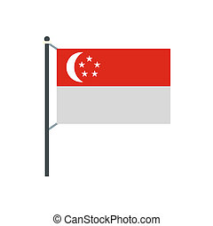 Flag of Singapore icon in flat style on a white background