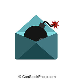 Hacking e-mail icon, flat style - Hacking e-mail icon in...
