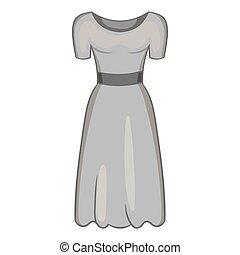 Womens fancy dress icon, black monochrome style - Womens...