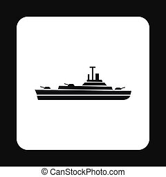 Military navy ship icon, simple style - icon in simple style...