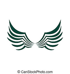 plumes, deux, aile, vert, Oiseaux, icône