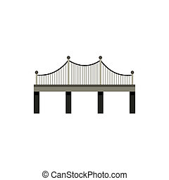 Black bridge with railings icon, flat style - icon in flat...