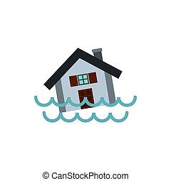 Flood icon, flat style - Flood icon in flat style isolated...