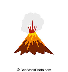 Eruption of volcano icon, flat style - Eruption of volcano...
