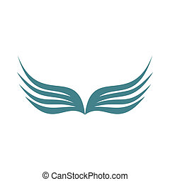 Two wings of bird with feathers icon, flat style