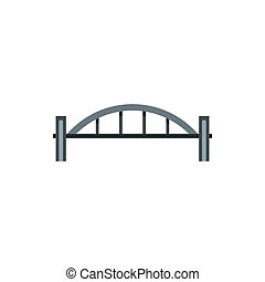 Bridge with arched railing icon, flat style - icon in flat...