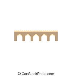 Stone arch bridge icon, flat style - icon in flat style on a...