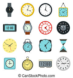 Time and Clock icons set, flat style - Flat clock icons set....