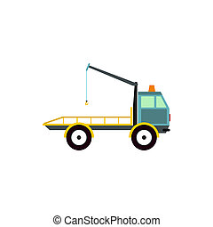 Tow truck for transportation cars icon, flat style - Tow...