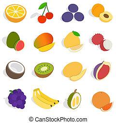 Fruit icons set, isometric 3d style - Isometric fruit icons...
