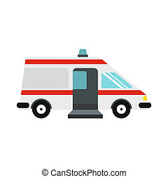 Ambulance car icon, flat style - icon in flat style on a...