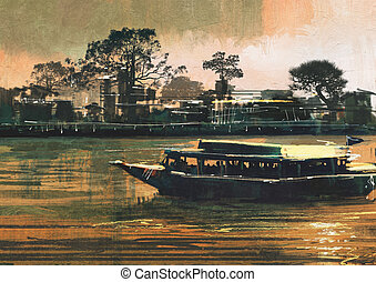 ferry carries passengers on river - painting showing ferry...