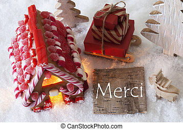 Gingerbread House, Sled, Snow,Merci Means Thank You - Label...