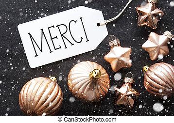 Bronze Christmas Balls, Snowflakes, Merci Means Thank You -...