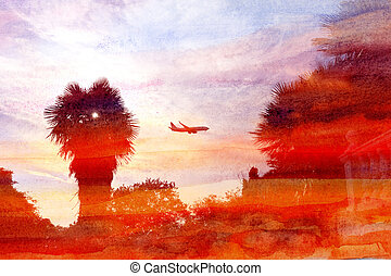 watercolor backgrounds with palm trees and a plane in the...