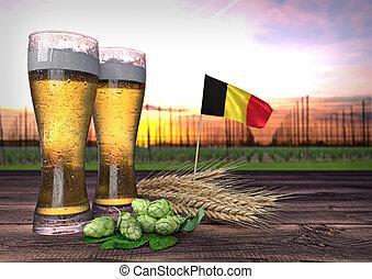 beer consumption in Belgium. 3D render - concept of beer...