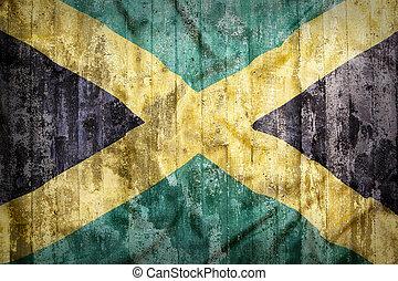 Grunge, estilo, de, jamaica, bandera, en, Un, ladrillo,...