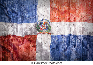 Grunge style of Dominican Republic flag on a brick wall for...