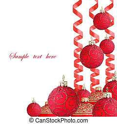 Christmas Ball with paper streamer - Red Christmas ball and...