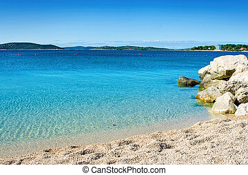 sky-blue sea - Beach  with clear cyrstal water and blue sky
