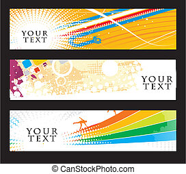 Abstract banners on different-2 colorfull themes,...