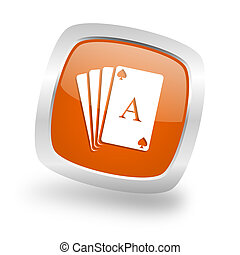 card square orange glossy chrome silver metallic web icon -...