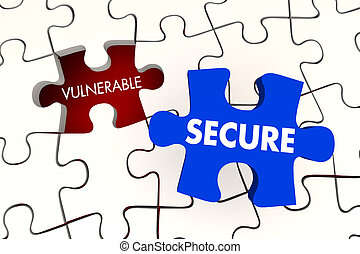 Vulnerable Secure Security Puzzle Piece 3d Illustration