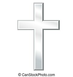 Christian Cross, Silver Crucifix - Silver cross, symbol of...