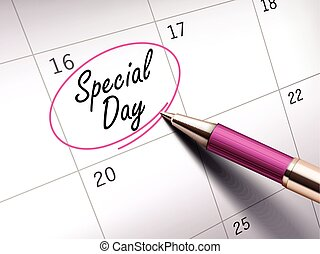special day words circle marked on a calendar by a pink...