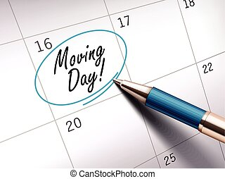 moving day words circle marked on a calendar by a blue...
