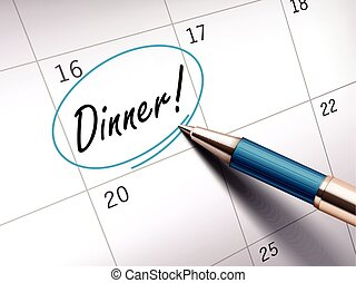 Dinner words circle marked on a calendar by a blue ballpoint...