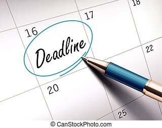 deadline word marked - deadline word circle marked on a...