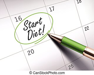 start diet words circle marked on a calendar by a green...